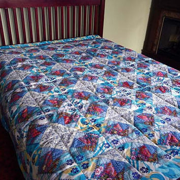 "Queen size quilt ""Frozen"", Embroidered heirloom quilt,  home and living, wedding gift, anniversary gift, vintage style, free shipping, OOAK"