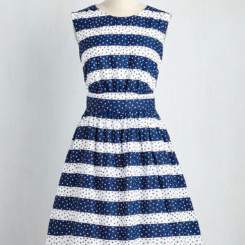 Too Much Fun Dress in Dotted Stripes