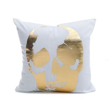 Gold Metallic Love Letter Throw Pillow Cover