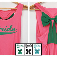 Now!!! Sale 20% from 32.99$ Bride Tank Premium with Bow : Dolly Bow Handmade Premium Tank with Bow styles, bow tank, cute tank.