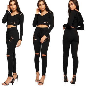 Black Ripped Crop Set with Hood