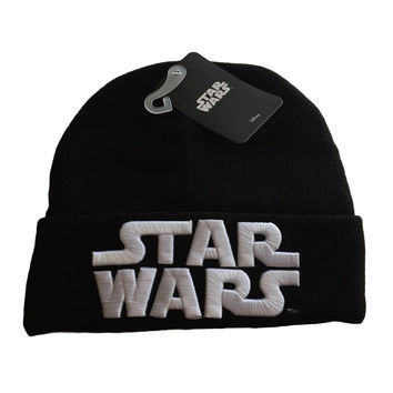 Star Wars Embossed White Stitch Logo on Black Cuff Beanie Knit Hat Disney NWT