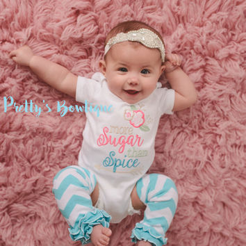More sugar than spice-- Girls bodysuit/shirt, bow, and legwarmers -- Girls outfit -- Vintage inspired outfit -- Crystal Headband --