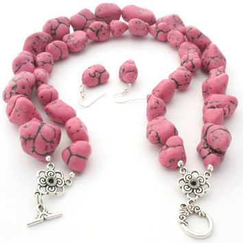 Pink Magnesite Statement Jewelry Set by MoonlightShimmer