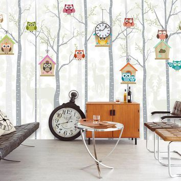 Bacaz Deer Trees Cute OWL 3d Cartoon Wallpaper Mural for Child Baby room 3D Photo Mural Wall paper 3d Cartoon Wall Stickers