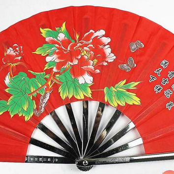 Red Metal Tai Chi Fan With Peony