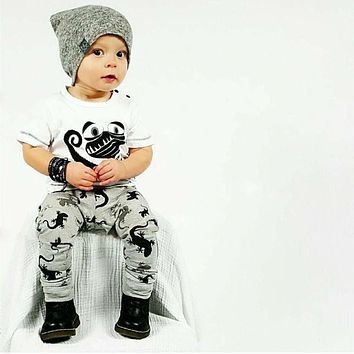 New baby boy clothes cotton baby clothes fashion short sleeve t-shirt + pants newborn girl clothes set