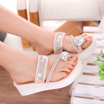 Beaded Strappy Clip Toe Korean Style Slip On Platform Beach Sandals