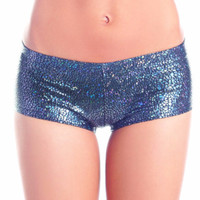 Grey Charcoal Metallic Shattered Glass Boy Booty Shorts