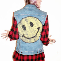 Grunge Smiley Vintage Denim Vest