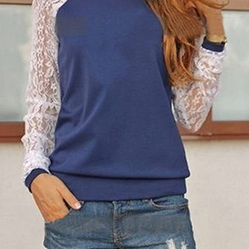 Color Block Long Lace Sleeve Sweatshirt