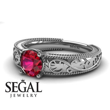 Unique Engagement Ring 14K White Gold Vintage Art Deco Ring Antique Ring Edwardian Ring Ruby - London