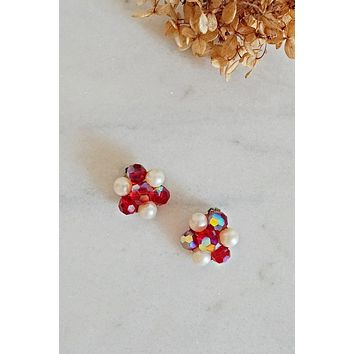 Vintage 1960s Ruby Red + Cluster Earrings