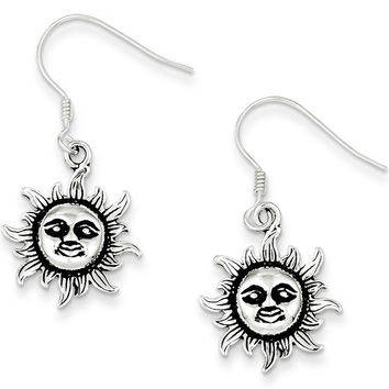 925 Sterling Silver Antiqued Sunface Dangle Earrings
