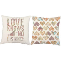 Love Knows No Distance - Deployment Pillow Covers and or Cushion Inserts - Love Pillows, Long Distance Print, Deployment Gift, Heart Pillow