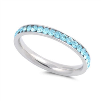 The Classic 2TCW Round Cut Aquamarine Blue Russian Lab Diamond Wedding Band Eternity Ring