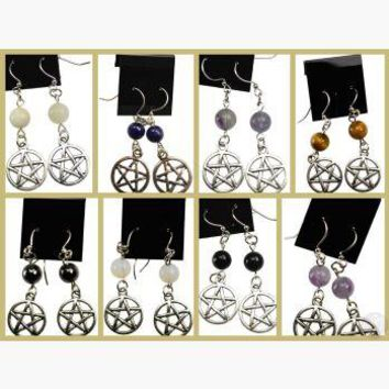 Jeweled Pentagram Earrings