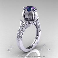Classic 14K White Gold 1.0 Ct Alexandrite Diamond Solitaire Wedding Ring R410-14KWGDAL