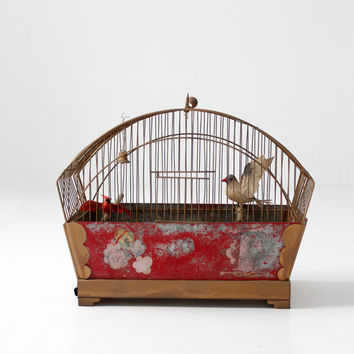antique bird cage, hand painted birdcage