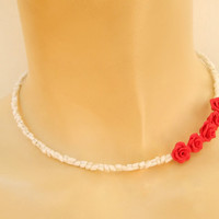 Red roses - Romantic necklace - Minimal necklace - Handmade necklace