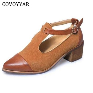 COVOYYAR 2017 Vintage Oxford Shoes Women Pointed Toe Cut Out Med Heel Patchwork Buckle