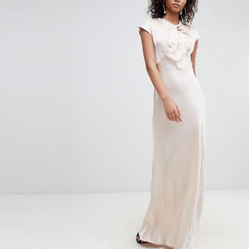 Ghost bridesmaid capped sleeve satin maxi dress with knot front at asos.com
