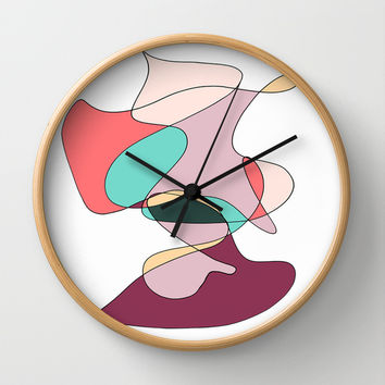 Abstract 1 (white) Wall Clock by DuckyB (Brandi)