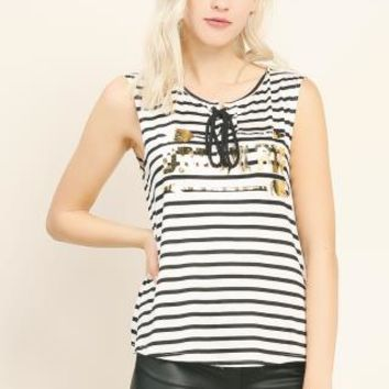 Metallic Printed Striped Top