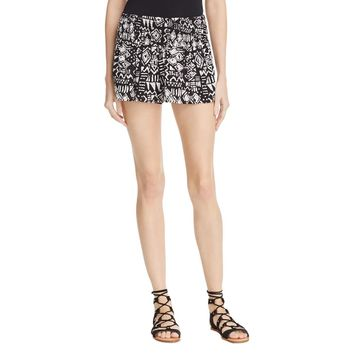 Aqua Womens Smocked Tribal Print Casual Shorts
