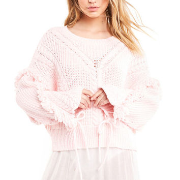 Journey Sweater - Pink Flush Slight Crop Fit Crew Neck - Wildfox