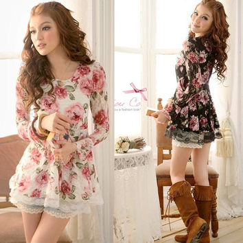 Long Sleeve Flower Rose Prints Lace Casual Tops Dress Shirts Blouses Sexy F_F = 1902772100