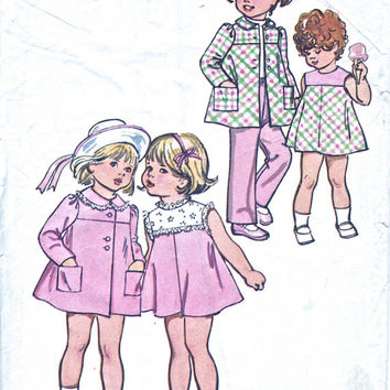 Toddlers' Pants And Dress Pattern - 1970's Vintage Sewing Pattern - Simplicity 5436 -  Child Size 2 Breast 53cm