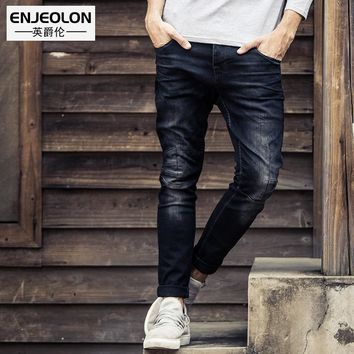 Enjeolon brand quality long full length black trousers,