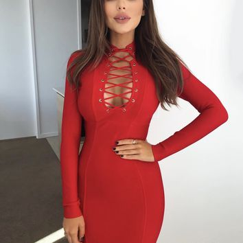 Karston Mini Bandage Dress in Hot Red