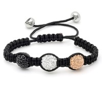 Triple Tri-Colored 12mm Crystal Disc Ball Shamballa Bracelet Adustable Length