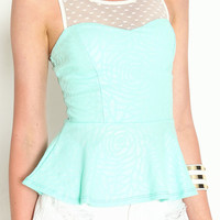 HEART LACE PEPLUM TOP