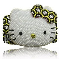 Leopard BLING Hello Kitty 3d Handmade Crystal & Faux Pearl Iphone 4 case/cover by Jersey Bling