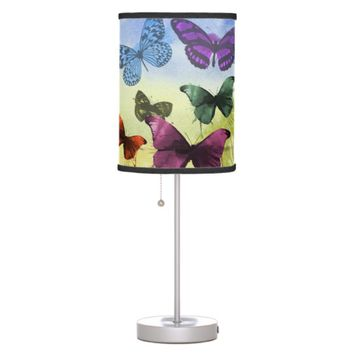Multicolor Butterfly Watercolor Painting Desk Lamp
