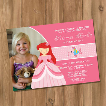 Little Mermaid / Ariel Inspired Birthday Party Invitation with Photo (Digital - DIY)