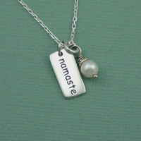 Pearl Namaste Necklace - sterling silver yoga pendant jewelry for women