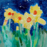 "Little Abstract Yellow Flowers, Acrylic Painting, Small Modern Art, ""Daffodils Under the Stars"" 8x8"