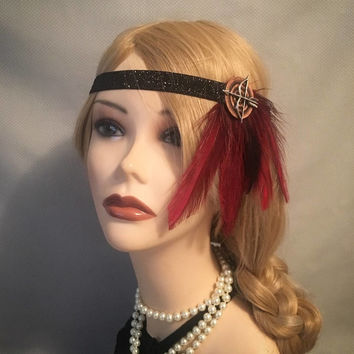 Red & Black 1920s style gatsby flapper headband black sparkly 20s art deco headpiece head piece hair 1920's 20's art deco native (710)