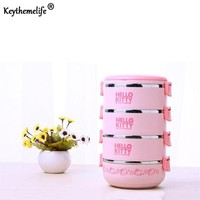 Keythemelife Hello kitty/Deraemon Lunch Boxs Portable Thermal Bento Lunchbox Multilayer Food Container PP+Stainless Steel EA