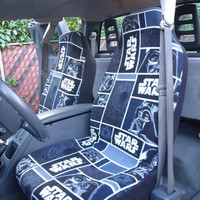 1 Set of Star Wars Darth Vader in Blocks Print Seat Covers and 1 piece steering wheel cover .