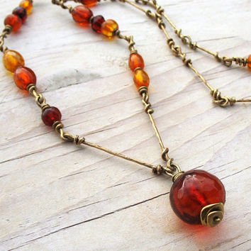 Long Genuine Baltic Amber Necklace, Antique Red Cherry Amber Pendant on Wire Wrapped Brass Chain Necklace, Wire Linked Chain OOAK