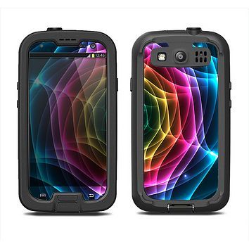 The Rainbow Neon Translucent Vortex Samsung Galaxy S3 LifeProof Fre Case Skin Set