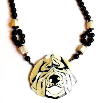 Vintage Lee Sands Dog Necklace - Mother of Pearl Inlay - Beaded Necklace - Focal Pendant - Unsigned Unmarked - Black White Shaggy Bulldog