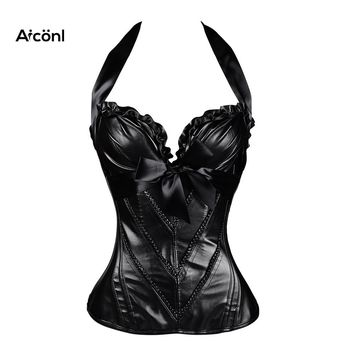 corset steampunk gothic sexy bustier plus size leather Slimming Tops Black underbust corset clothing Push up Chest Straitjacket