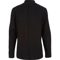 River Island MensBlack grandad collar long sleeve shirt