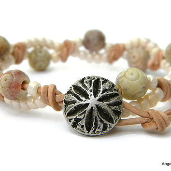Sand Dollar Wrap Bracelet Entwined Leather Wrap Sand Dollar Bracelet